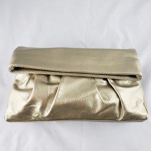 STEVE MADDEN Metallic Gold Clutch Magnetic Closure